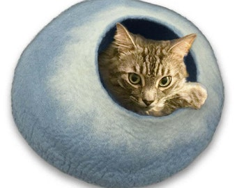 FREE SHIP Cave bed for cat dog ferret rabbit hamster - Sky Blue and white  - ships next day from usa / Cat Bed / Pet Bed / Hand Felted Wool