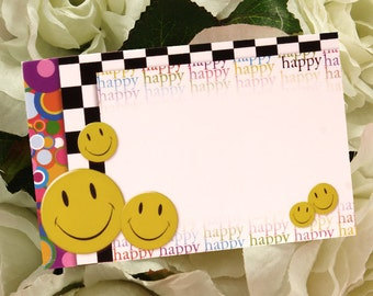 "50 ""Happy Face"" Smiles Florist Blank Enclosure Cards Small Tags Crafts (Free Shipping!)"