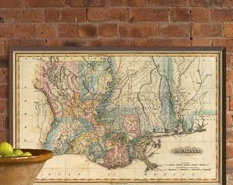 Old map of Louisiana - Restored map, wonderful print for home decor