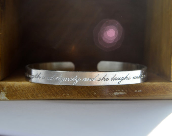 Featured listing image: Engraved Personalized Cuff Bracelet   Custom Mantra Bracelet   Quote Bible Verse Love Note   Hidden Message   Silver Aluminum