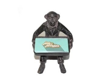 Vintage Monkey Business Card Holder Monkey Dish Monkey Candle Holder Monkey Butler Brass Monkey