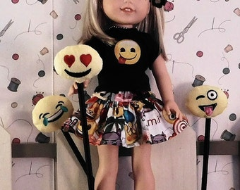 Handmade Emoji outfit fits American Girls  new Wellie Wisher Dolls.  Skirt and t-shirt top.  OUTFIT ONLY