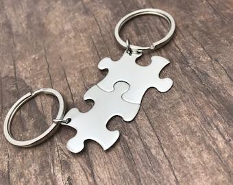 Boyfriend Gift, Non-Customizable Keychains, Puzzle piece keychains, Couples Keychains, Couples Gift, Anniversary Gift, Gift Ideas minimalist