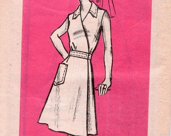 Iconic Uncut Vintage 1970s Mail Order 9454 A Line Wrap Dress with Sleeve Options Sewing Pattern B38
