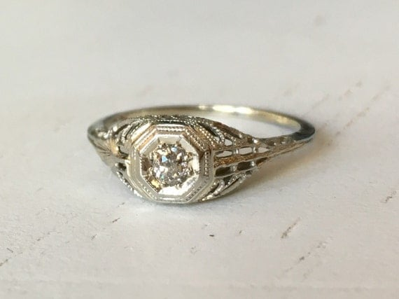 Outstanding Detail Old Mine Cut Diamond Filigree Engagement Ring- 18k White Gold