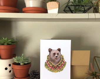 Collector: Bear // Blank Art Card // Woodland Illustration