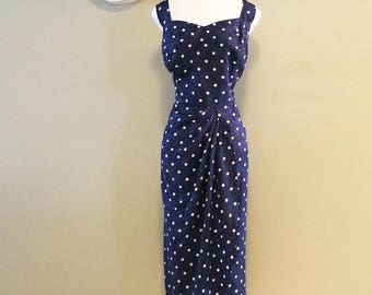 Plus Size Rockabilly Pin Up Bombshell Wiggle Dress 1950s 50s Look Navy Blue & White Polkadot Polka Dot Sarong Wrap Dress sz Extra Large XXL