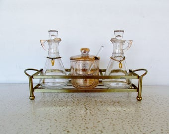 Vinegar Oil Set Mid Century Glass Hazel Atlas Gold Speckled Cruets Condiment Jar Caddy Mid Century