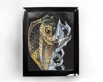 Snake Print, Custom Size, Skull Art, Skeleton Poster, King Cobra, Goth Wall Art, Halloween Decoration, Gothic Decor, Animal Illustration