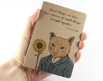 Van Gogh Notebook, Vincent van Gogh Quote, Cat Notebook, Small Notebook
