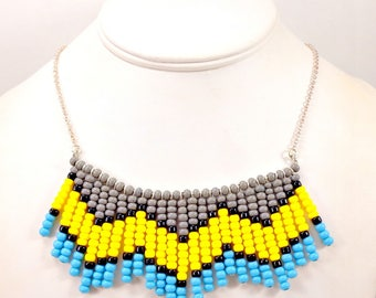 Statement Necklace, Seed Bead Necklace, Chevron, Bib Necklace, Pendant Necklace, Big Pendant, Beaded Necklace, Yellow, Black, Turquoise