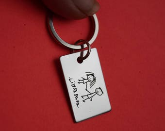 Fathers Day Gift, Mens Personalized Keychain, Dad Gift, Mens Jewelry, Fathers Day, Handwriting keychain, Handwritten keychain,