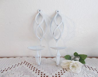 White Shabby Chic Candle Holder Set Upcycled Vintage Cast Iron Pillar Votive Candleholder Wall Sconce Pair French Country Cottage Home Decor
