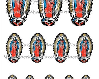 Religious Collage Sheets , Our Lady of Guadalupe, Mexican Art, Digital Download Guadalupe, Catholic Art, Virgin Mary, Madonna, Spiritual Art