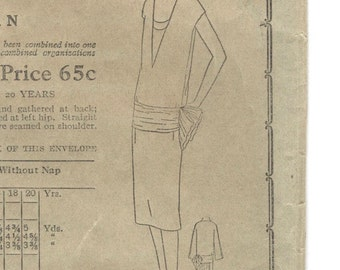 Rare 1920s Vogue pattern for a dress with shirred sash & double vestee -- Vogue 8490