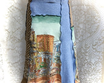 Cotton Upcycled Skirt, San Francisco Scene Patchwork, Women Medium, A-Line Skirt, Eco Friendly, Recycled Clothing, #SK422