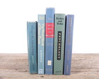 Vintage Green and Blue Books / Old Books Vintage Books / Decorative Books / Antique Books / Mixed Book Set / Books by Color /Books for Decor