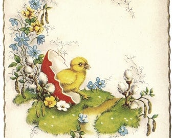 Baby Chick Hatching from Easter Egg Vintage French Easter Postcard Post Card from Vintage Paper Attic