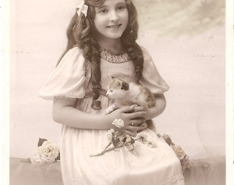 Beautiful Girl with Kitten Antique French Photo Postcard from Vintage Paper Attic