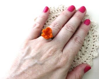 Crochet Ring - Ring - Flower Ring - Crochet Jewelry - Orange Ring - Vegan Jewelry - Adjustable Ring - Rings - Adjustable Ring for Women