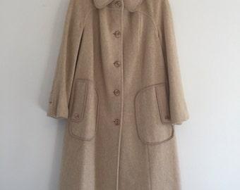 Vintage 70's Beige Wool Coat / Long Winter Dress Coat S M