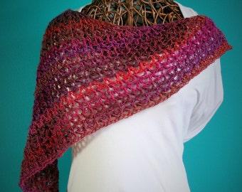 Crochet Triangle Shawl,Knit Shawl,Handmade Wrap,Poncho,Triangle Scarf,Womens Clothing,One Size,Gyspy Clothing,Hippie Clothes,Purple,Gift
