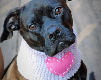 Knit Dog Cowl Lavender with Pink Heart Made to Order