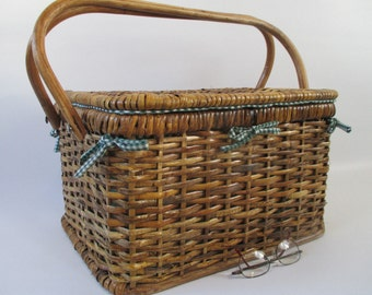Picnic Basket, Vintage Rattan Large Sturdy, Gingham Lined Green White Natural WovenTwo Handles Cottage Kitchen Romantic Meal Display Storage