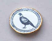 Porcelain Brooch with Gold Lustre Frame /  Free Shipping within the UK