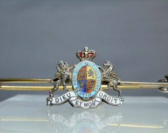 Vintage Scottish Coat of Arms Kilt Pin Sterling Silver and Brass Latin Words Enamel DanPickedMinerals