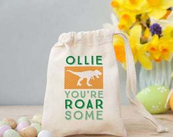 A roarsome alternative Easter Egg Gift - Our Dinosaur Easter Treat Bag with marshmallows or chocolate eggs is the perfect Easter Gift