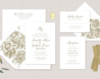Gold Foil Wedding Invitation. Monogram Wedding Stationery. Sophisticated Invite for Classic Weddings in Gold. Letterpress Wedding Invite.