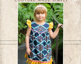 Moxie's Flutter Top, Dress, and Maxi PDF Pattern sizes 2T to 14 girls
