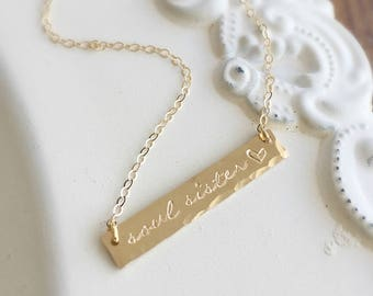 Soul Sister . Soul Sister Necklace . Gold Bar Necklace . Bar Necklace .