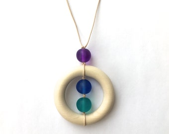 Resin and Wood Teething Nursing Necklace/ Breastfeeding Necklace - Twiddly Teether - Teal, Blue, Purple