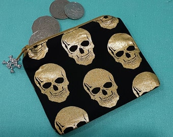 Skull coin purse, gold skulls, fully lined with zipper, coin pouch, zipper pouch, card purse, black and gold, skulls coin purse, small