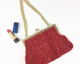 Velvet Red Evening Bag Purse Handbag Gold Chain