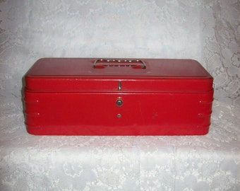 Vintage Red Metal Box Industrial Fishing Tackle Tool Box Only 12 USD