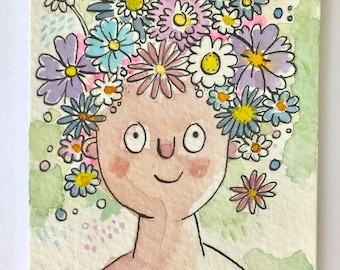 Flower Girl, Original Art, Watercolor ACEO