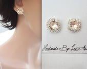Champagne stud earrings,Swarovski light silk earrings,Halo crystal earrings, Brides earrings, Wedding earrings, Bridesmaids earrings~ SOPHIA