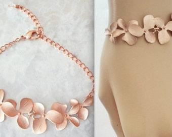 Rose gold orchid Bracelet ~ Destination wedding jewelry ~ Brides bracelet ~ Bridesmaids jewelry ~ Beach lover ~ Birthday, Gift