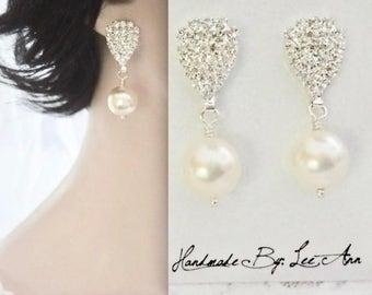 Chunky pearl earrings, Pearl earrings, Swarovski pearl earrings,Sparkling rhinestone posts, Brides pearl earrings,Bridesmaids pearl earrings