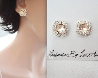 Champagne stud earrings,Swarovski light silk earrings,Halo crystal earrings, Brides earrings, Wedding earrings, Bridesmaids earrings~ SOPHIA