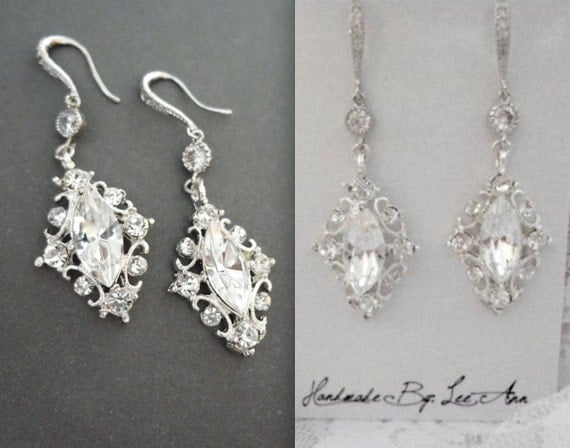 Crystal earrings ~ Marquise cut ~  Beautifully detailed ~ Sterling Silver ear wires ~ Victorian, Vintage style earrings ~ Brides earrings