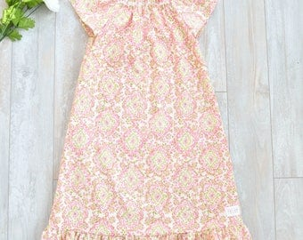 Made to Order Cotton Nightgown, Available in Sizes Baby Girl 6 Months thru Toddler Girl 4T, Rose and Ruffle