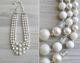 Vintage 60's 'Snow Angel' Pearl Beaded Triple Strand Necklace
