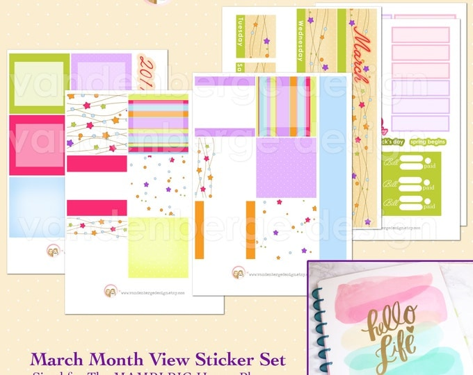 BIG Happy Planner March Month View Kit - sized to fit the MAMBI Big Happy Planner