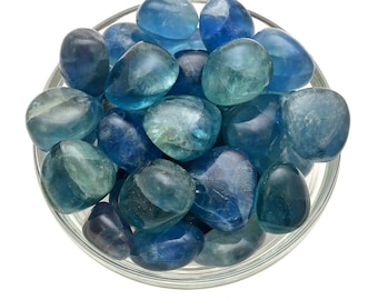 1 Large Blue FLUORITE Tumbled Stone Polished Gem Healing Crystal and Stone Focus Memory #BF01