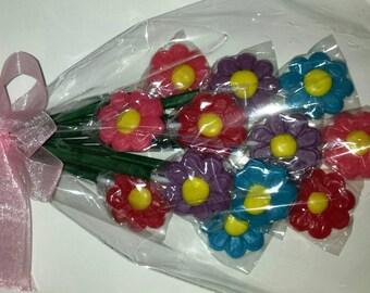 Candy bouquet - One Dozen Lollipops bundled in a bouquet
