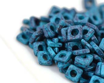 Mykonos 6mm Square Washer - Mottled Blue - Greek Ceramic Beads - Quantity: 50 or 100